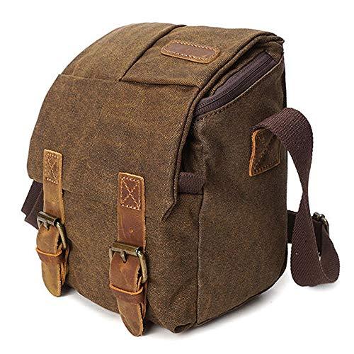 Goodvk Kamera-Rucksack Tasche Crossboby Beutel for Männer Leinwand mit Leder Wasserdicht Lässige Schützen Sie die Kamera (Farbe : Braun, Size : One Size)