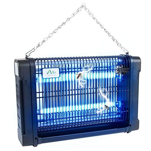 Gardigo 62404 - Lampe UV Anti Moustique Electrique -Tue Mouches Destructeur Anti Insectes 16W; Piège Moustiques Mouche Intérieur Extérieur; 70m² Bac Collecteur, Chaîne de Suspension