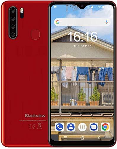 Blackview A80Pro スマートフォン本体 4Gスマホ本体 simフリースマートフォン本体 6.49インチ 13MP+8MP 4680mAh RAM 4GB + ROM 64GB Android 9.0端末 携帯電話 技適認証済み 1年間保証付き (レッド)