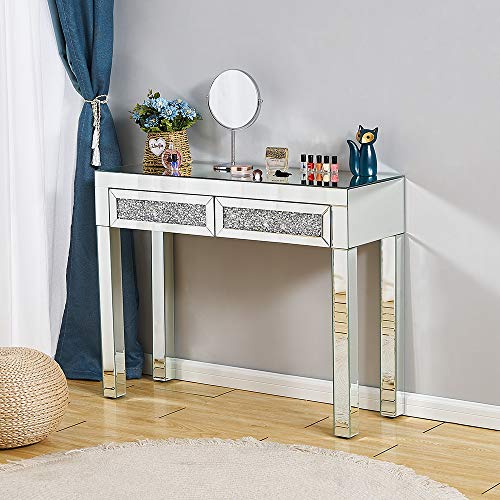 Mirrored Desk,Makeup Vanity Table Mirrored Dressing Table Furniture Glass With Drawer Console Bedroom Study Home Office 100 * 36 * 78cm (L * W * H)