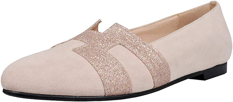 Nine Seven Suede Leather Women's Round Toe Flat Chunky Heel Fashion Slip On Handmade Concise Comfort Women Dress Pumps