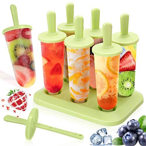 Molde para Helado, 6 Moldes Polos Ice Cream Mold Fabricante de Moldes de Paleta Frozen Yogurt Helado Jelly Pop Mold Reutilizable Sin BPA, Verde