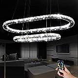 MTSBW Araña LED de araña de Cristal, a Distancia de Control de regulación, Moderno y Elegante 2 Anillos Regulable en Altura y Hermosa (D55 + 86cm) [A +++ Energía]