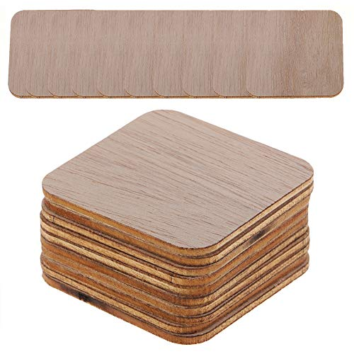 Sieman - Discos cuadrados de madera sin terminar para manualidades, discos de madera, pintura, pirograbado, tallado, 50 unidades de 8 cm