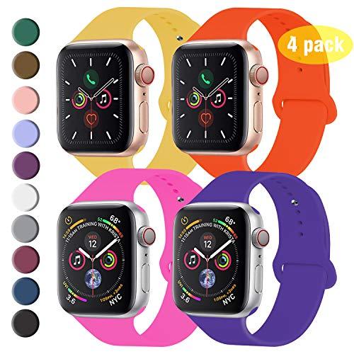 Qunbor Compatible Cinturino per Apple Watch Cinturino 44mm 42mm 40mm 38mm, Confezione 4, CCinturino Sport in Silicone Cinturino Uomo e Donna per iWatch Serie 5 4 3 2 1