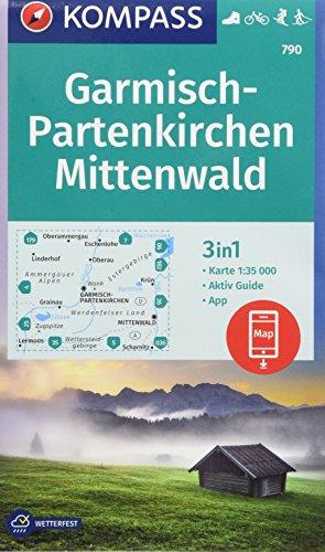 KOMPASS Wanderkarte Garmisch-Partenkirchen, Mittenwald: 3in1 Wanderkarte 1:35000 mit Aktiv Guide inklusive Karte zur offline Verwendung in der ... Langlaufen. (KOMPASS-Wanderkarten, Band 790)