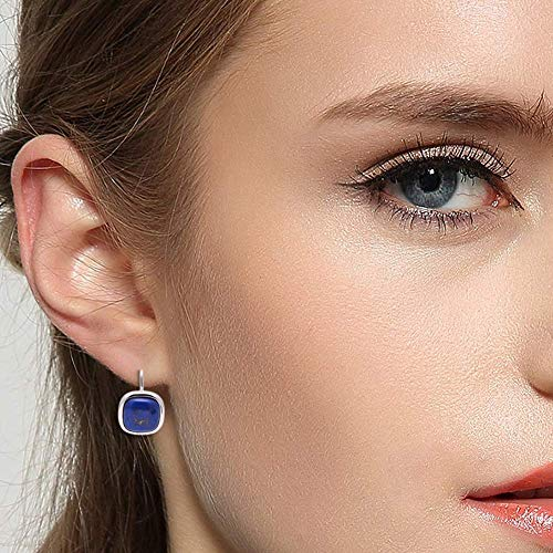 925 Sterling Silver Square Cabochon Lapis Lazuli Earrings for Women