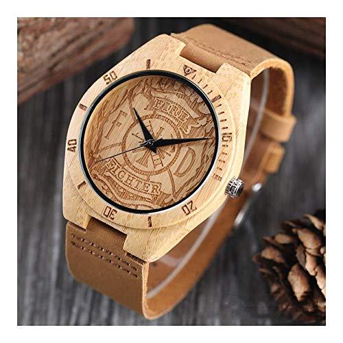 Leyue Relojes de Madera para Hombres, Moda bambú y Relojes de Talla de Madera, Negocios Informales Romance, Salud, Naturaleza y protección Ambiental Correa Negra