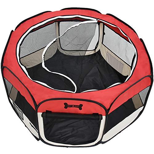 HB Club Faltbar Welpenlaufstall Welpenauslauf Laufstall für Kleine und mittlere Tiere Hunde Hasen Katzen (Rot, 125x125x64cm)