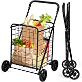 Goplus Folding Shopping Cart, Light Weight Utility Grocery Cart with Wheels, Portable Cart for Laundry Shopping Grocery (Black)