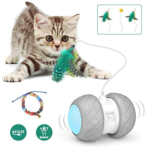 Interactive Robotic Cat Toys,Automatic Irregular USB Charging 360 Degree Self...
