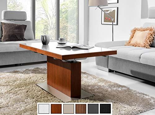 Design Couchtisch Tisch MN-3 Kirschbaum Kirsche Weißglas höhenverstellbar & ausziehbar Esstisch