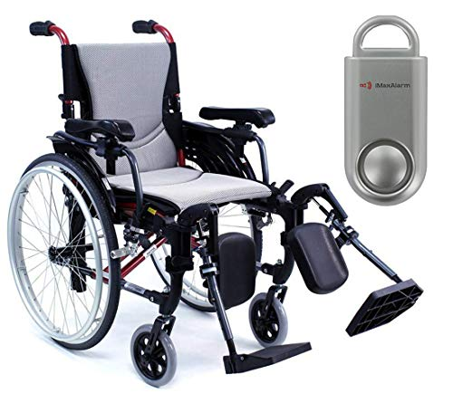 Karman S-Ergo 305 Ultra Lightweight Ergonomic Wheelchair | Upgraded to Elevating Legrests | Seat Size 18' X 17' | Frame Color Pearl Silver & Free 130 dB Silver Safety Alarm!