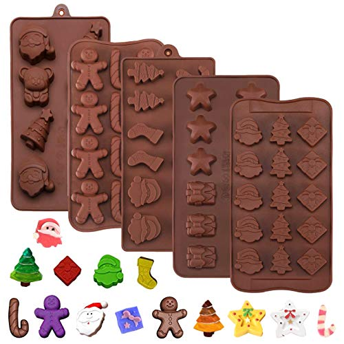 ZXT Lot de 5 Silicone Moules à Chocolat,Silicone Candy Chocolat Forme Antiadhésif pour DIY Tablettes de Chocolats, Barre énergétiques et Protéinées, Bonbons