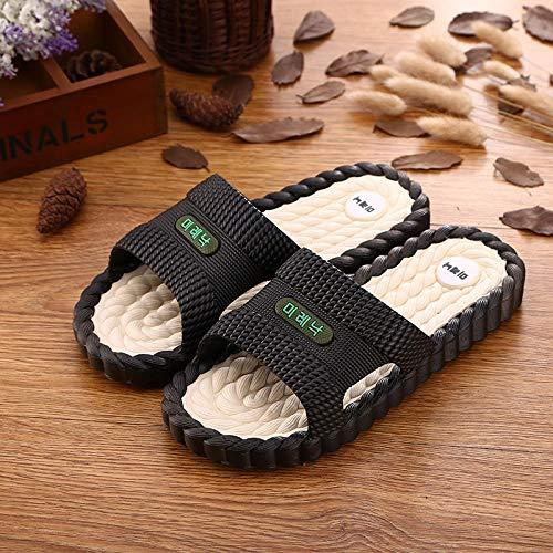Nwarmsouth Salle de Bain Couples Chaussures,Pantoufles de Salle de Bain à la Maison, Sandales de Massage antidérapantes-Noir et Blanc_40-41,Unisexe Femme Homme Pantoufles