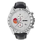 DMC Delorean - 1981 - Reloj cronógrafo de cuero plateado para hombre | Delorean Motor Company | 42 mm caja de acero inoxidable | 50 m resistente al agua y a los arañazos | Esfera blanca | Correa de pi