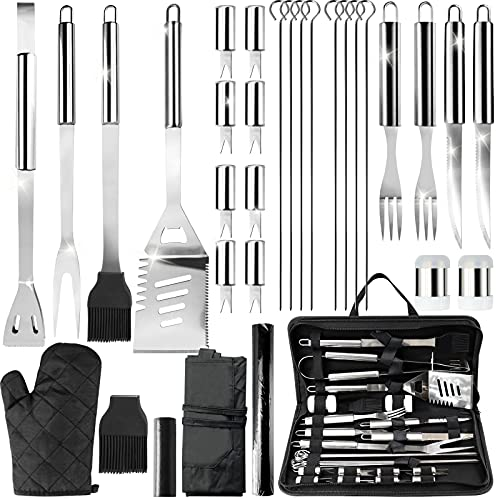 31PCS BBQ Grill Tools Set - Stainless Steel Barbecue Grilling Tools Kit BBQ Accessories Grill - Gifts for Outdoor Cooking Camping Grill Needs, with Aprons, Gloves, Garbage Bags, Grill Mat