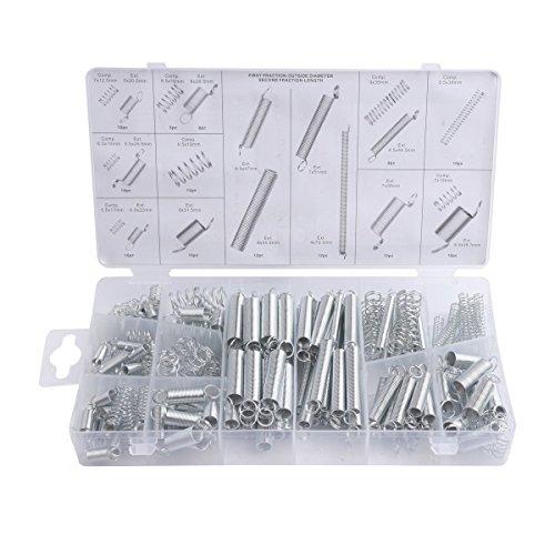 MINGZE 200 Stück Federn Sortiment, Druckfedern, Spannfedern, Zugfeder Stahl Verzinkt Reparatur Werkzeugset