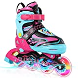 JUSUEN 4 Size Adjustable Inline Skates for Kids with Light up Wheels, Fun Illuminating Roller Blading Girls and Boys Youth -Pink Large(5-8US)