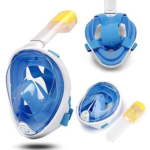 Dastrues Cara Completa Buceo Máscara Juego Silicona Antivaho Natación Máscaras Buceo Seco Juego para Niños Adulto - Azul, S/M