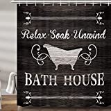 Farmhouse Shower Curtains for Bathroom, Rustic Thankful Funny Black White Quotes Inspirational Bathroom Rules Fabric Shower Curtain Set, Bathroom Accessories Decor 12 Hooks Included (69' W X 72' H)
