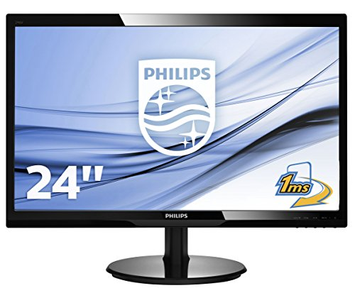 "Philips Monitor 246V5LDSB Gaming Monitor 24"" LED Full HD, 1920 x 1080, 250 cd/m², 1 ms, HDMI, DVI, VGA, Attacco VESA, Nero"