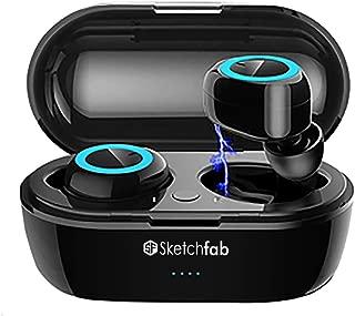 Sketchfab TWS Bassbuds in Ear True Wireless Earbuds Bluetooth Headphone 5.0, Hi-Fi Sound,Portable 250mAh Charging Box (Black) (Black)