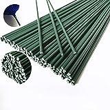 Lot de 50 fils métalliques recouverts de plastique vert pour fleurs artificielles bricolage décoration 40 cm