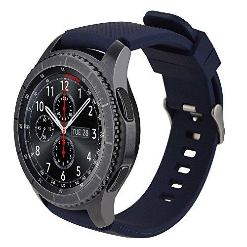 iBazal 22mm Bracelets Silicone Sport Watch Bandes Compatible avec Samsung Galaxy Watch 3 45mm/Gear S3 Frontier Classic,Galaxy Watch 46mm Remplacement pour Huawei GT/2 Classic,TicWatch Pro - Bleu Foncé