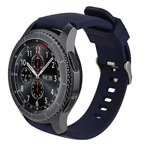 iBazal 22mm Correa Silicona Pulseras Bandas Compatible con Samsung Galaxy Watch 3 45mm/Galaxy Watch 46mm,Gear S3 Frontier Classic,Huawei GT/2 Classic,Ticwatch Pro (Reloj No Incluido) - Azul Oscuro