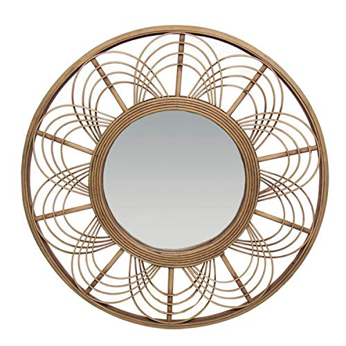 Vidal Regalos Espejo de Pared Madera Bamboo Redondo 90 cm