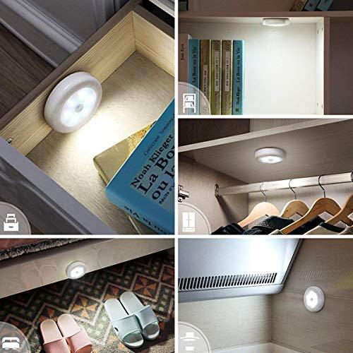 TYC Luces LED con Sensor de Movimiento, 6 PCS automático Luz Nocturna LED, Lámpara Nocturna para Vestíbulo, Sótano, Garaje, Baño, Armario, Cocina, Escaleras, Luz de Pared con Almohadillas Adhesivas