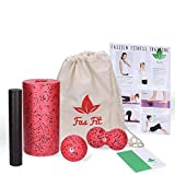 Faszien Fitness 4 in 1 Set: Faszienrolle + Mini-Rolle + Duoball + Faszienball + Baumwoll-Turnbeutel...