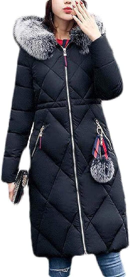 Women Winter Long Quilted Jacket Faux Fur Hoodie Parka Down Coat Puffer Jacket Outerwear