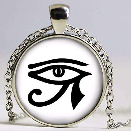Halskette mit Anhänger Horusauge rund Gothic Brille antiker Anhänger Mädchen Pullover Kette