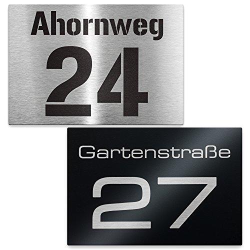 Metzler Hausnummer Edelstahl-Schild - Nummer und Straßenname - inkl. Beschriftung - Wandmontage - Maße: 16 x 11 cm (Edelstahl)