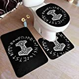 Vikings Mjolnir and Rune Wheel Norse Mythology Symbol Comfort Flannel Bathroom Rug Mats Set 3 Piece Soft Non-Slip with Backing Pad Bath Mat + Contour Rug + Toilet Lid Cover Absorbent