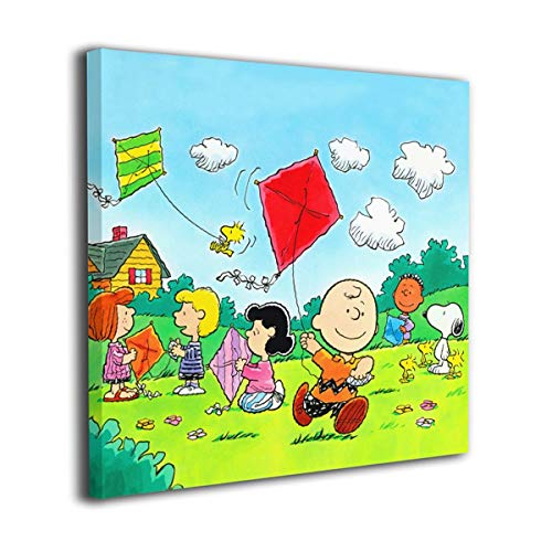 Snoopy Children Flying Kite HD Prints On Canvas Best Gifts for Boys Girls,Solid Wood Innerframe Wall Decor Ready to Hung Child's Bedroom Toy Room Playground 16