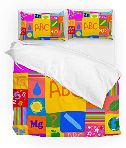 Múltiple Lindas Kids Kindergarten Carta Número Ropa de cama Funda de edredón Set California King Tamaño 3 pieza Set 1 edredón Cubierta y 2 fundas de almohada Shams For Kid Boy Girl Mujeres Hombres