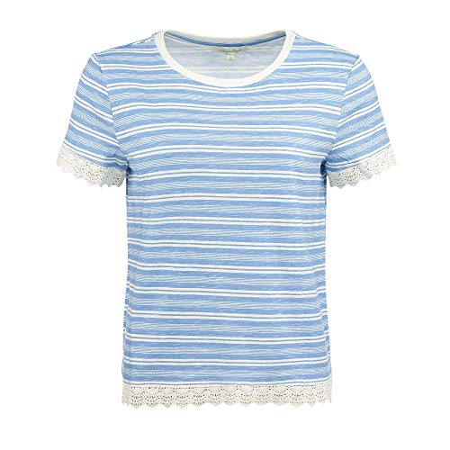 TOM TAILOR Denim Häkelborten T-Shirt, Damen, Blau XL