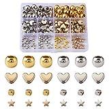 Craftdady Cuentas espaciadoras pequeñas con forma de corazón Rondelle con agujero grande CCB de plástico geométricas pequeñas cuentas sueltas, platino y dorado, para pulseras y joyas, agujero 1-5,5mm