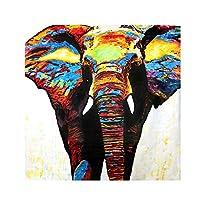 """落書きキャンバス絵画カラフルな象の壁アート北欧のポスターとプリント壁の写真リビングルームの家の装飾23.6"""" x 23.6""""(60x60cm)フレームレス"""