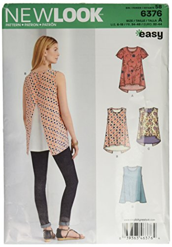 New Look 6376Größe A Misses 'Tops mit Länge Variationen Schnittmuster, Mehrfarbig
