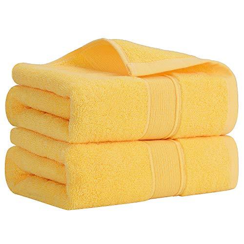 Lirex Set Asciugamani, (2 Confezioni) Ultra Morbido Altamente Assorbente 500 GSM Asciugamani da Bagno 50 x 80 cm Extra Grande Di Spessore Mano Asciugamani per Bagno, 100% Cotone a Fibra Lunga, Giallo