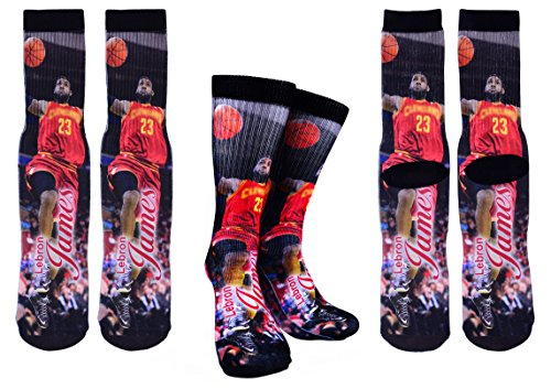 Forever Fanatics Lebron James #23 Basketball Crew Socks ? Lebron James Autographed ? One Size Fits 6-13 ? Ultimate Basketball Fan Gift (Size 6-13, James #23)