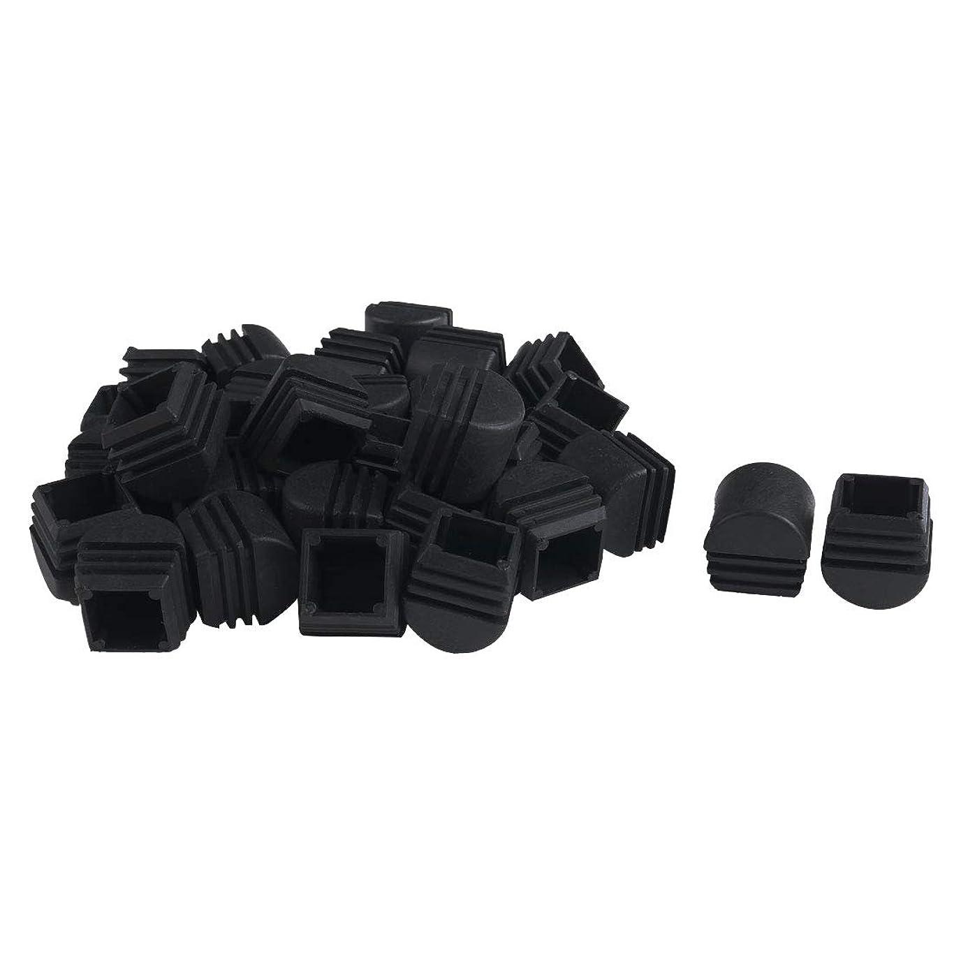 車促進する量uxcell 25×25mm プラスチックドーム型正方形リブチューブインサート エンドカバーキャップ 黒 0.83~0.31インチ 内寸 ハウス フロア 家具 テーブル デスク プロテクター