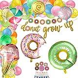 Dsaren 86 Pezzi Decorazioni per Feste di Candyland Donut Grow Up Banner Palloncino Foil Gelato Ciambella Toppers Cupcake Palloncini in Lattice Coriandoli per Ragazze Bambini Feste Dolcetti Baby Shower