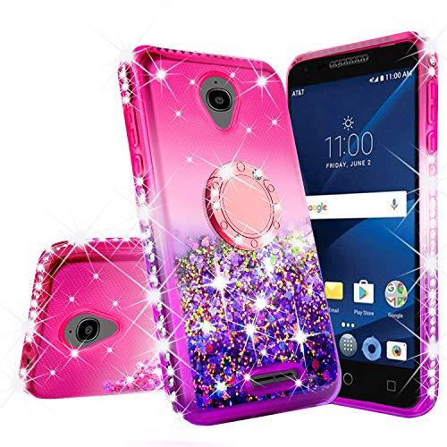 Alcatel Verso/IdealXCITE/CameoX/Raven LTE (A574BL)/U50 (5044R) Case Bling Liquid Glitter Shock Proof Phone Case Ring Kickstand Diamond Cute Girls Women Cases for Alcatel Raven (Hot Pink/Purple)