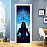 KEXIU 3D Yoga PVC fotografía adhesivo vinilo puerta pegatina cocina baño decoración mural 77x200cm