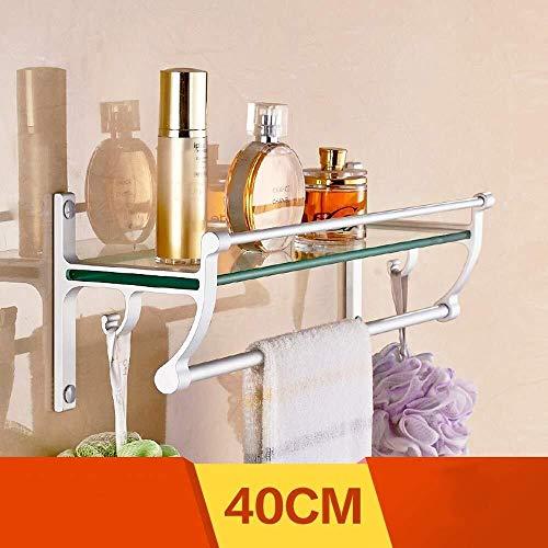 Yxsd Estante de baño de aluminio, estante para la cocina, soporte de cristal cosmético, toallero (color: plata, tamaño: 40 cm)